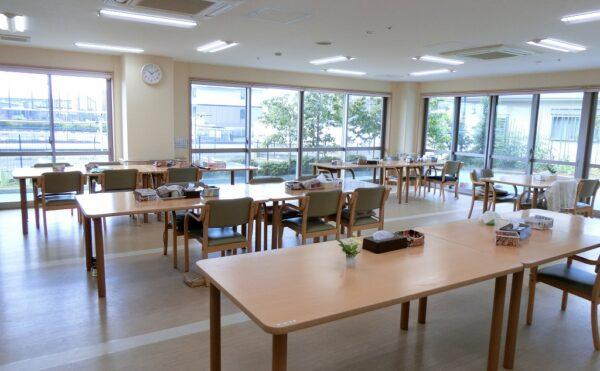 窓が大きいため日当りが良く雰囲気が明るい食堂です。