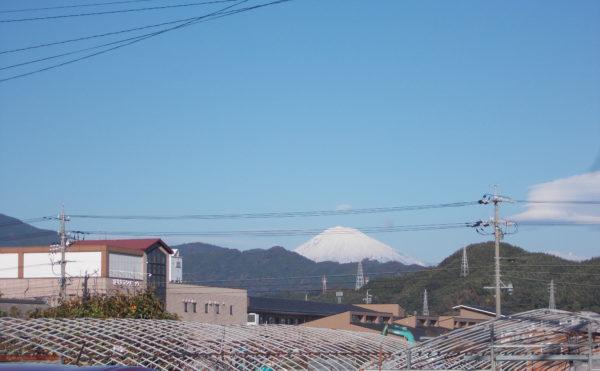 北東側からは、富士山が見えます。丁度、雪をかぶってはっきり見えます。