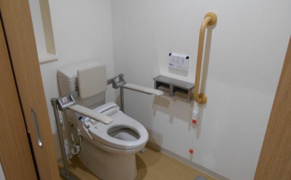 手すり付トイレ 清潔感のあるトイレには手すりが設置され安心して利用する事が出来ます。(なごやかレジデンス清水八坂)