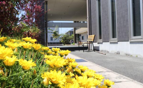入口 綺麗なお花も咲いており、雰囲気が良いです。