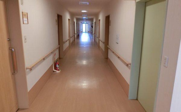 車いす同士でもすれ違える幅がある廊下で、手すりも設置されています。