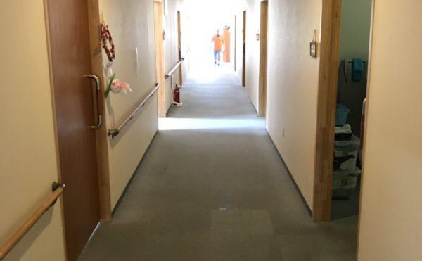 廊下の壁には手すりも備え付けられています。(住宅型有料老人ホーム「茶山荘」)