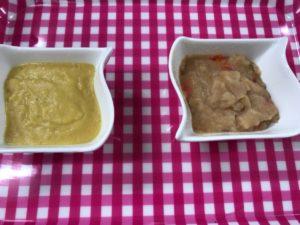 やわらかおかず肉じゃがとなめらか野菜コーンをお皿に開け、見た目や味を介護食として比較してみました。