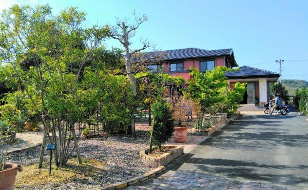 敷地内庭園① 敷地内には綺麗に育てられた木々や植物がり、散歩する人を穏やかな気持ちにします。(グランマ「ハノン」&「カノン」))
