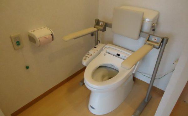 居室介護用トイレ 清潔感があり適所に手すりが設置されていて安心して利用する事が出来ます。(杏林福祉サービスときわ)