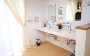 共用洗面 広いスペースに洗面カウンターが設置されていて車いすの方でも安心して利用する事が出来ます。(クローバーライフ富士)
