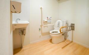 共用トイレ 清潔感のある内装に適所に手すりが設置されていて安心して利用する事が出来ます。(クローバーライフ富士)