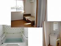 居室・洗面・浴室 清潔感のある施設内の設備と大きな窓のある開放的な居室を紹介しています。(グループホーム 都の家)