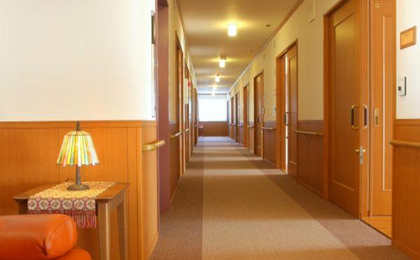広い廊下 床がカーペット仕上げで両側に手すりが設置され安心して移動する事が出来ます。(泉プラチナホーム篠ケ瀬)
