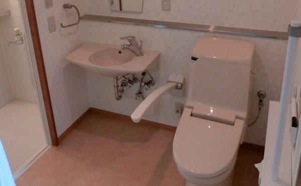 一人部屋の洗面所です。清潔感のある内装に手すりを適所に配置されて安心して利用できます。(スカイテラス伊東)