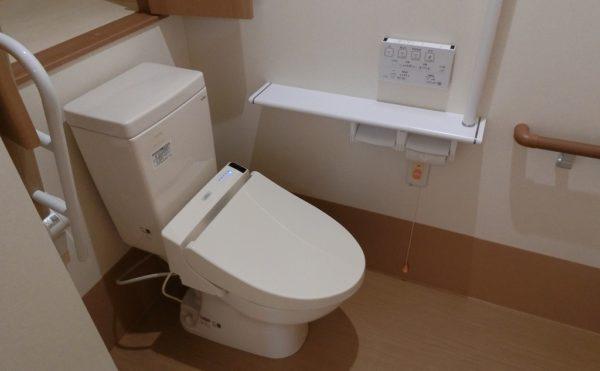 トイレ 大きな背面収納があり、ゆったりとしたスペースに手すりが適所に配置されています。(ロータスケア緑ヶ丘)