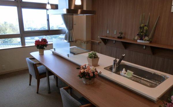居室フロアのオープンキッチン  広くて開放的な空間にキッチンが設置。ご自身で料理して食事が出来ます。(ミモザ熱海湯庵)