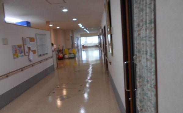 広い廊下 大きな窓が配置されていて広い廊下には両側に手すりが設置されているので安心して移動が出来ます。(ウェル静岡)