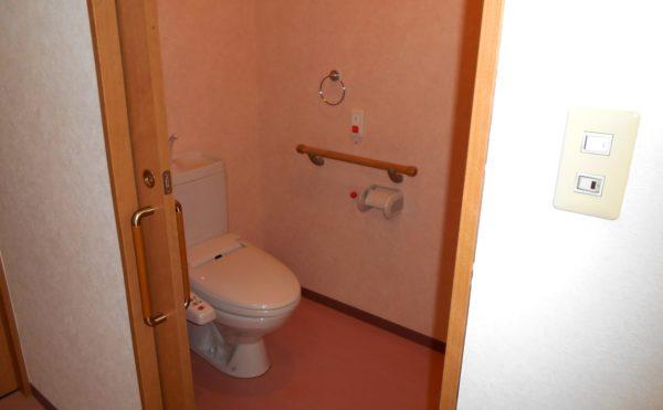 トイレ 居室内トイレでは引き戸の扉と適所に手すりが配置されて安心してご利用する事が出来ます。(ピュアライフ中田本町)