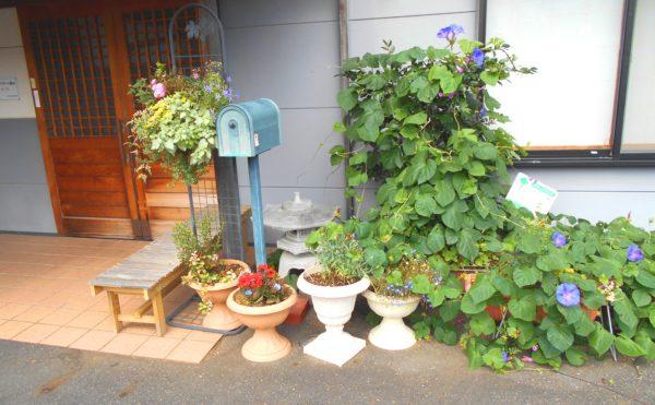 外観③ 施設玄関には植物が生い茂り、ベンチが設置されていて、訪れる人を穏やかに迎え入れます。(ライフサポート鎌田)