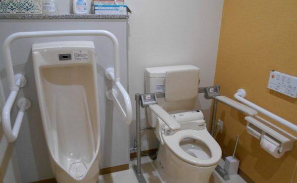 共有トイレ② 男性用・女性用とも手すりが配置されていて安心してご利用することが出来ます。(クオリティリビングおかりや)