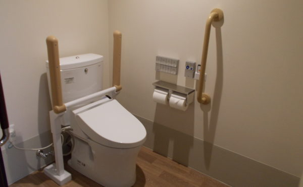 居室内トイレ 引き戸の取っ手が持ち易く、手すりを適所に配置され安心して利用する事が出来ます。(コルディアーレ藤枝)