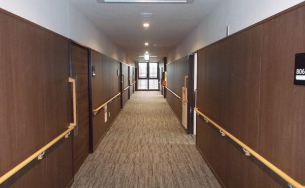 廊下 一直線の広い廊下で両側に手すりが設置されて、床はカーペット仕上げで高級感のある廊下です。(コルディアーレ藤枝)