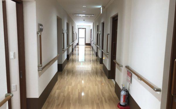 清潔な廊下 広い廊下には両側に手すりが設置されていて安心して歩行・移動する事が出来ます。(ケアクオリティアンダンテ)