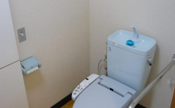 手すり付きのお手洗い。広いスペースと手すりが設置され、安心して利用することが出来ます。(ベストライフ熱海)