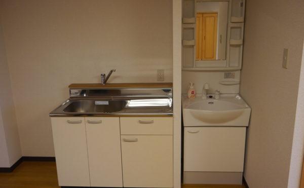 個室のキッチン 清潔感のあるホワイト色の扉でキッチンと洗面が統一されていて気持ちよく使用できます。(あい湖)