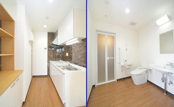 ワイドタイプのお部屋のキッチン・トイレ お洒落なインテリアスペースです。(シャトー高丘 サービス付き高齢者向け住宅)