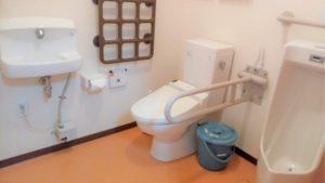トイレ 清潔感があり、広いトイレですが手すりが適所に設置されて安心して利用する事が出来ます。(グループホーム虹の森)