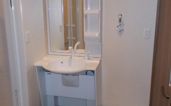 洗面サニタリー  サニタリーには洗濯機置き場とシャワー式の洗面台で快適な毎日を過ごす事が出来ます。(glad 下川原)