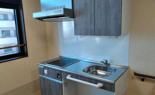 共同スペースにキッチンもございます!電気のスイッチも下に付いているので、車椅子の方でも安心!