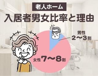 老人ホームの入居者男女比ってどのくらいなの?