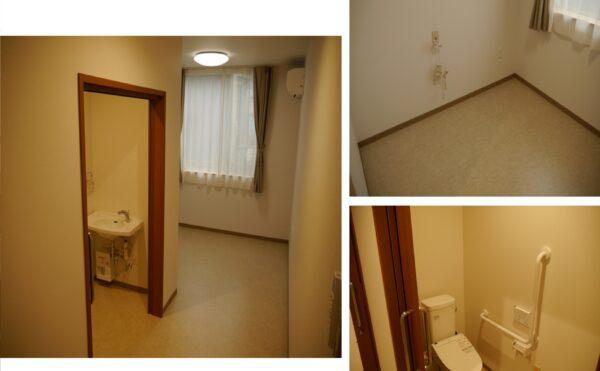 開口部の広い、使いやすいトイレがついた個室です。