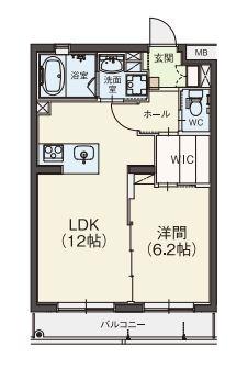 Aタイプ 1LDKのお部屋です(43.59㎡)。